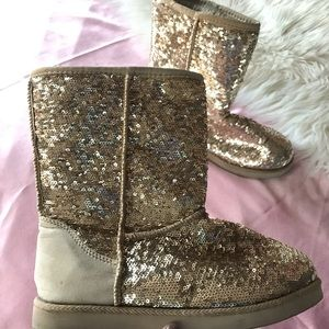 Ankle length gold sequin boots